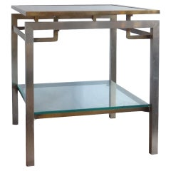 Maison Jansen brass and stainless steel table - France 1970's - Ipso Facto