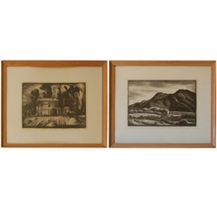 Set of Two Decorative American Etchings