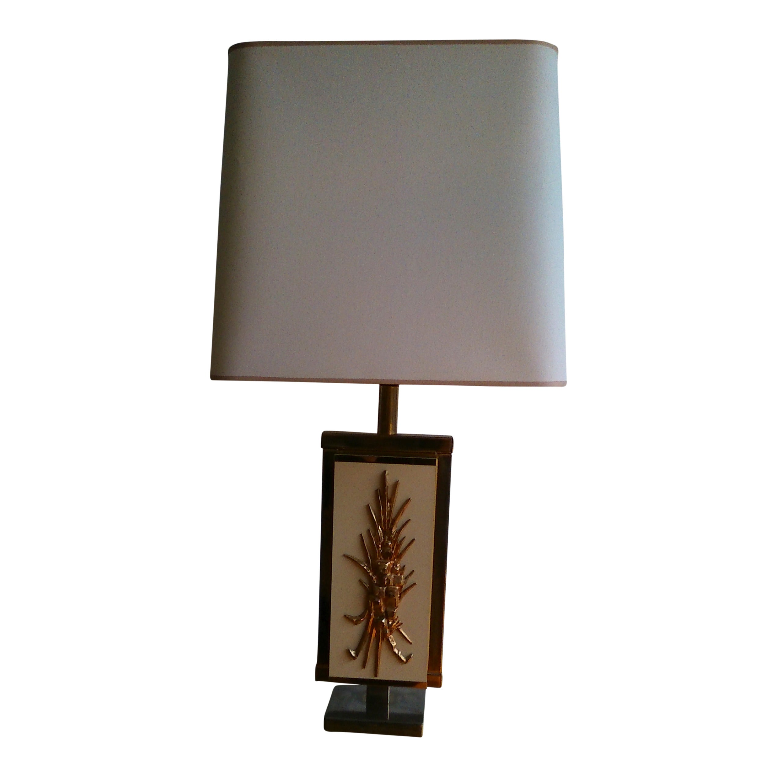 1970's brass and  beige lacquered melamine lamp - France - Ipso Facto