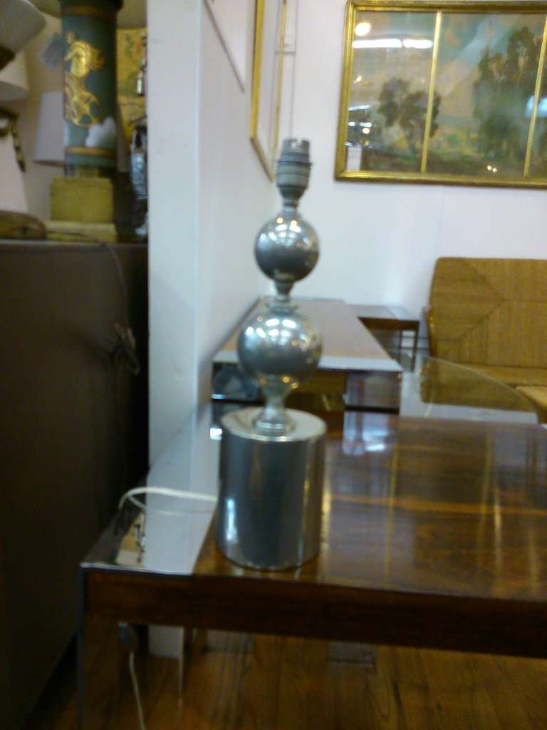 French Brushed steel table lamp by Philippe Barbier - France 1970's - Ipso Facto For Sale