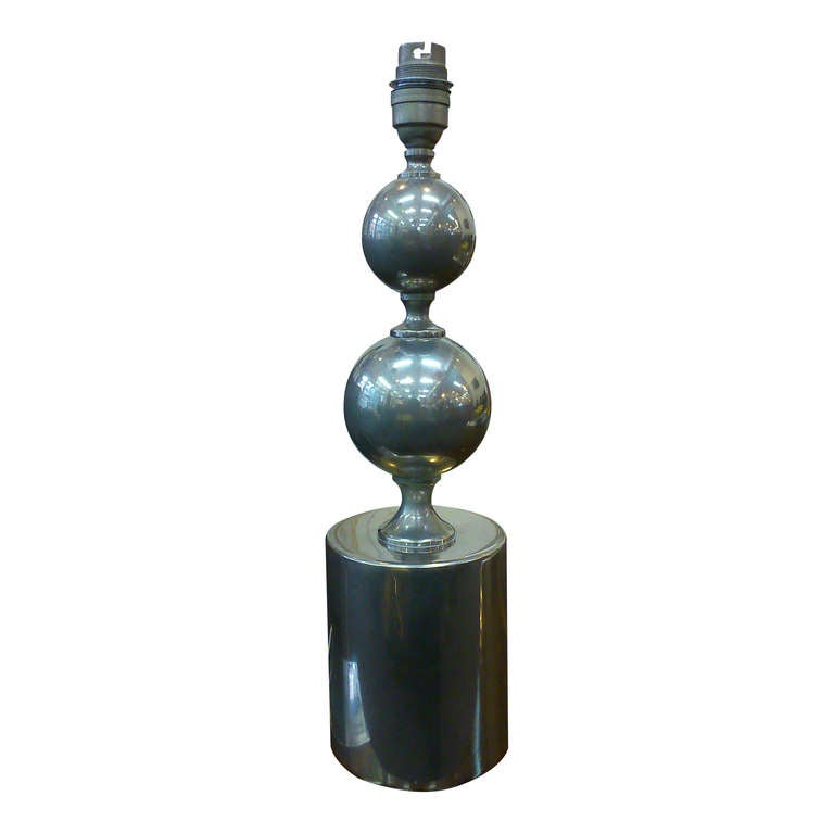 Brushed steel table lamp by Philippe Barbier - France 1970's - Ipso Facto In Good Condition For Sale In New York, NY