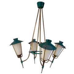 Rare Arlus Four Lights Chandelier - France 1960's - Ipso Facto