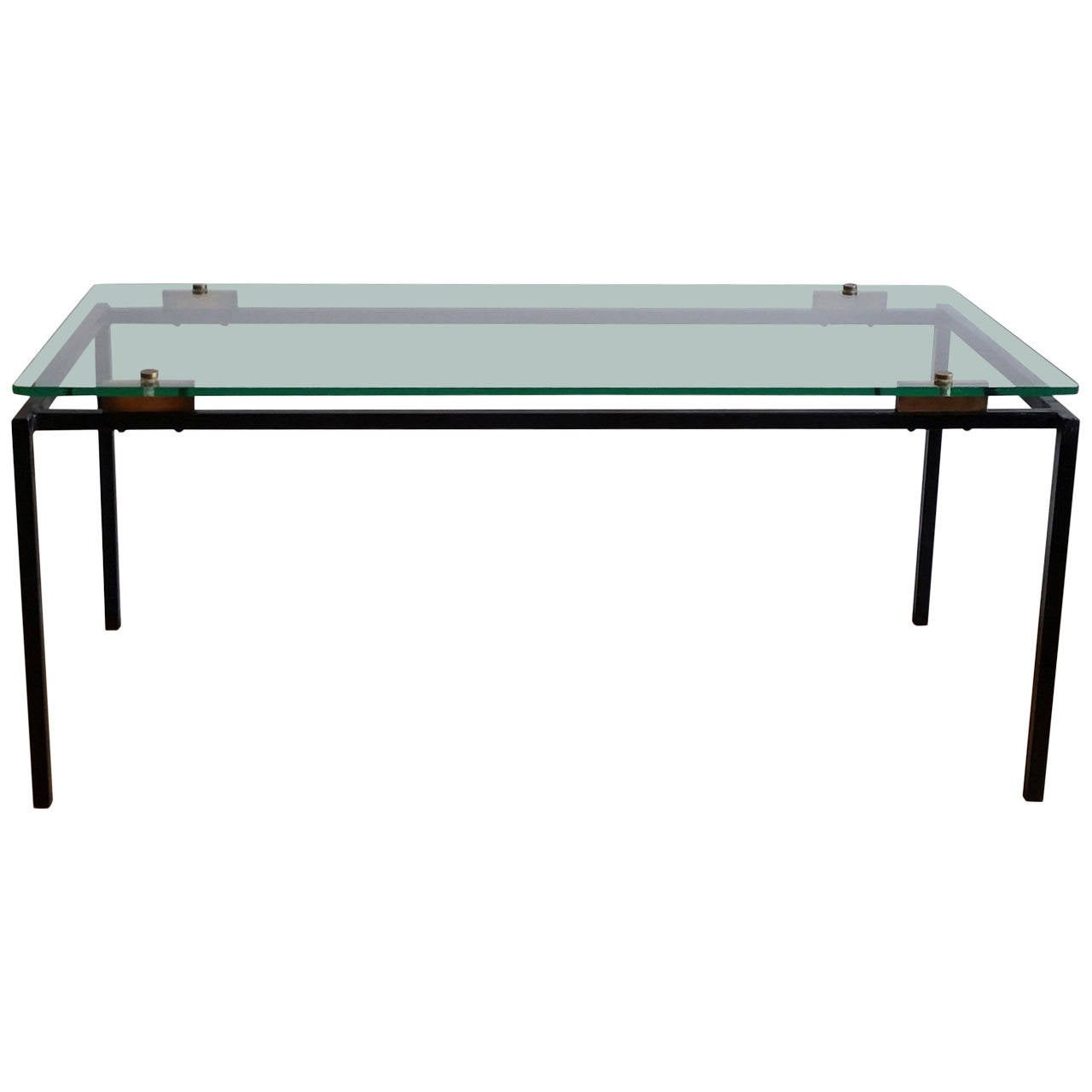 Elegant Lacquered Steel And Glass Coffee Table Attributed To Alain Richard For Sale At 1stdibs