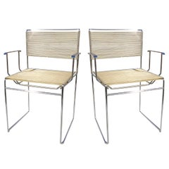 Two Chrome Plated Steel and Spaghetti Armchairs by Giandomenico Belotti