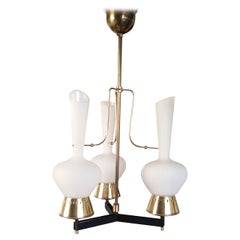 Exceptional Three-Light Chandelier Attributed to Stilnovo, Italy 1960s