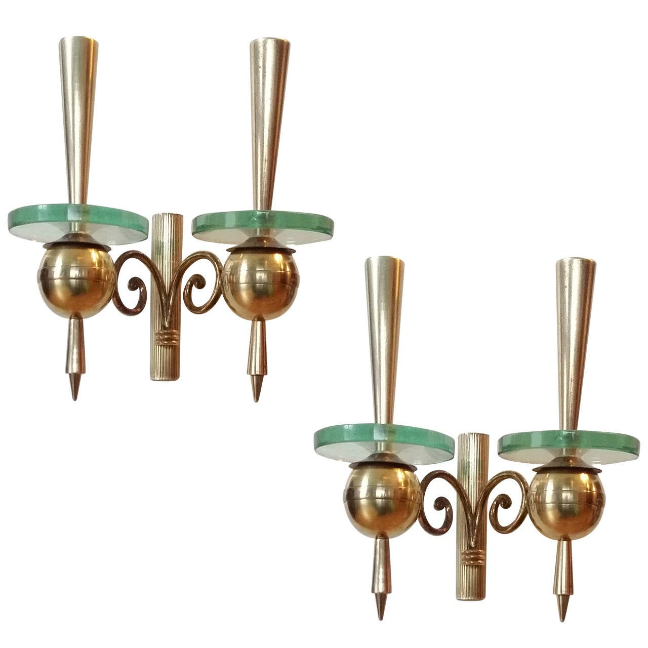 Pair of 1950s Brass and Thick Glass Sconces Attributed to Pietro Chiesa, Italy
