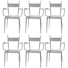 Suite of Six Rigitulle Garden Chairs attributed to Colette Gueden, France 1950s