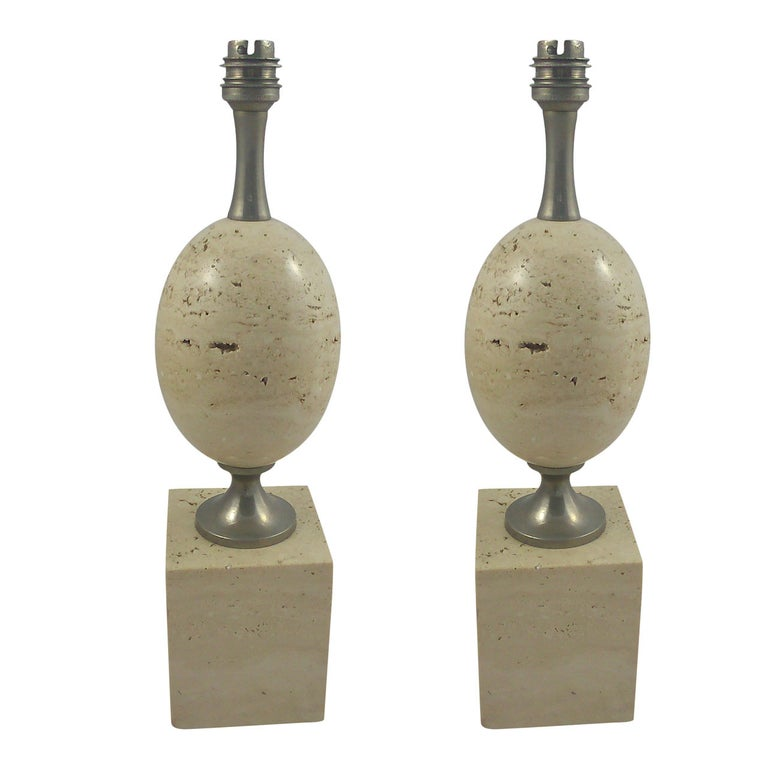 Pair of petite travertine table lamps by P. Barbier - France 1970's - Ipso Facto For Sale