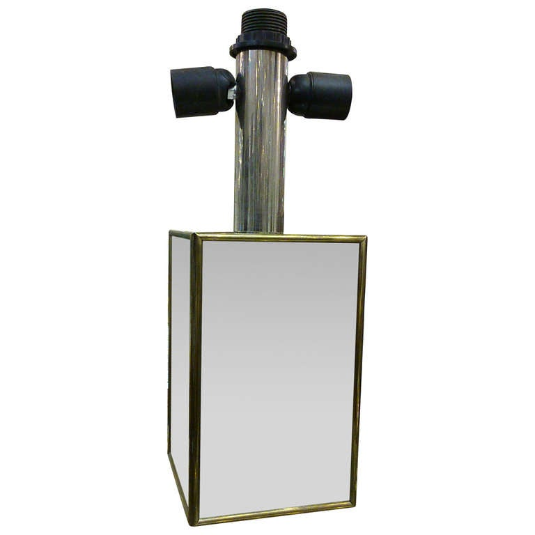 Minimalist Polished steel and brass lamp by Lancel - France 1960's - Ipso Facto