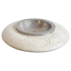 Stainless Steel and Travertine Ashtray by Maison Barbier, France 1970s