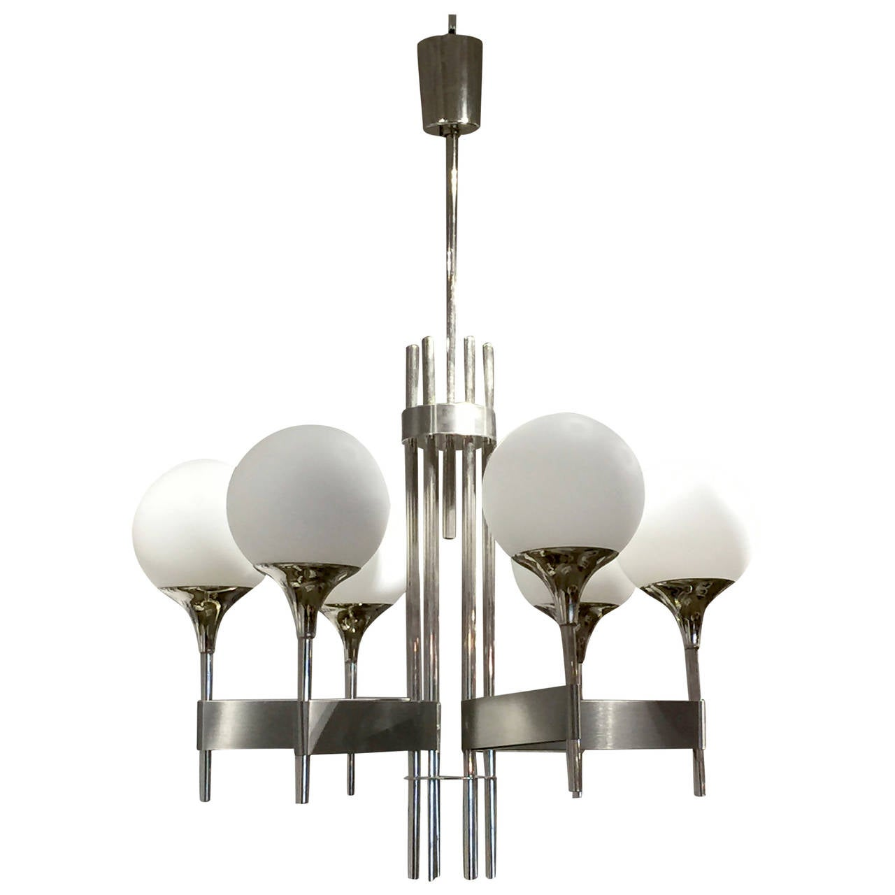 Elegant stainless steel chandelier sciolari italy 1970s at 1stdibs elegant stainless steel chandelier sciolari italy 1970s for sale aloadofball Images