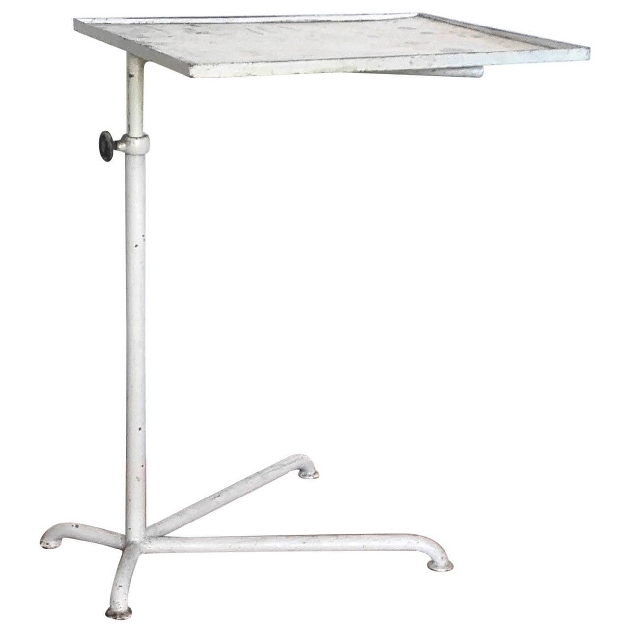 Minimalist industrial adjustable side table france 1950s for sale