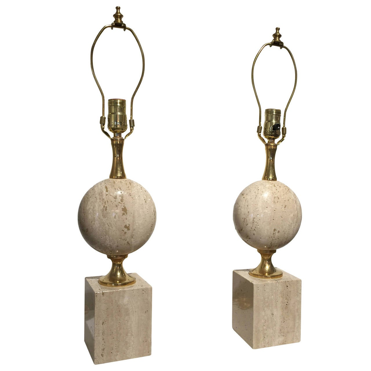 Pair of Beige Travertine Philippe Barbier Table Lamps, France 1970s