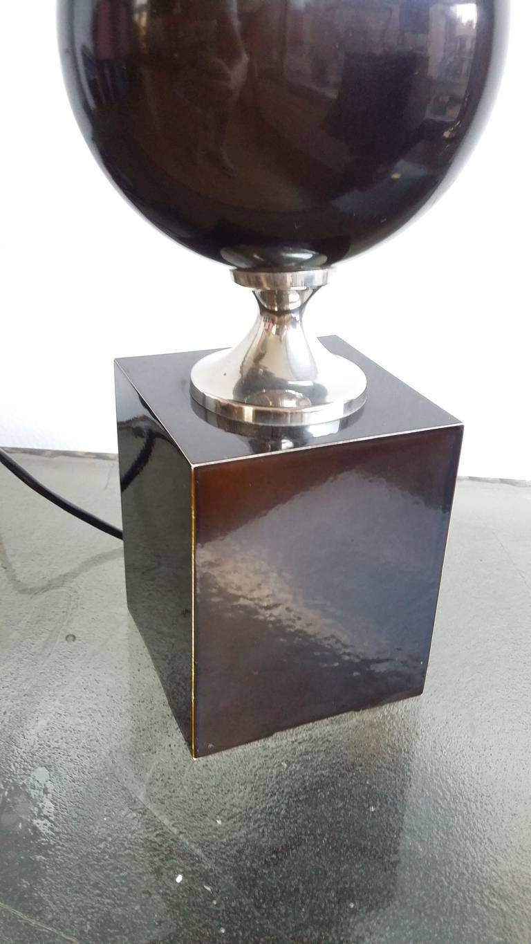Late 20th Century Deep Brown, Enameled Steel Lamp by Philippe Barbier - 1970's - Ipso Facto For Sale