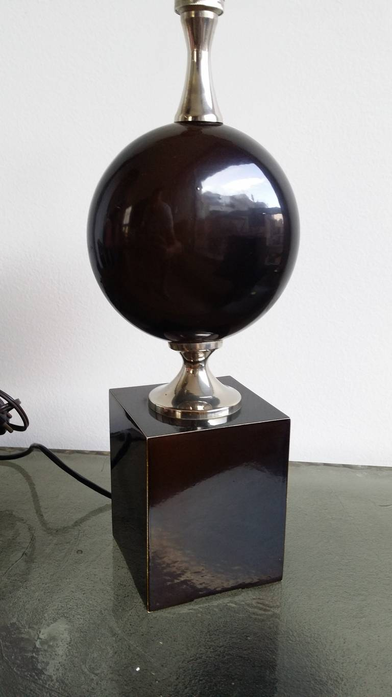 Chrome Deep Brown, Enameled Steel Lamp by Philippe Barbier - 1970's - Ipso Facto For Sale