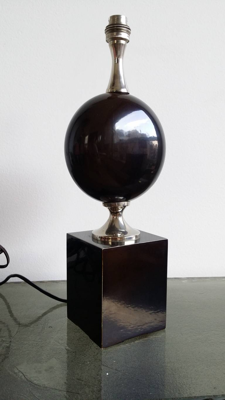 Deep Brown, Enameled Steel Lamp by Philippe Barbier - 1970's - Ipso Facto For Sale 2