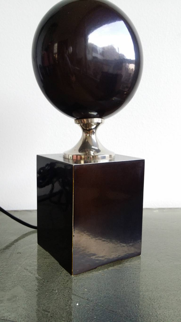 Deep Brown, Enameled Steel Lamp by Philippe Barbier - 1970's - Ipso Facto For Sale 3