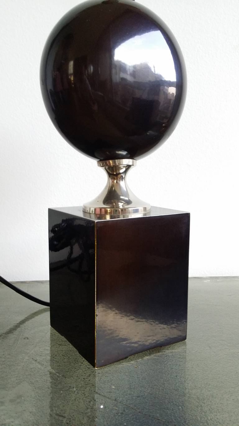 French Deep Brown, Enameled Steel Lamp by Philippe Barbier - 1970's - Ipso Facto For Sale
