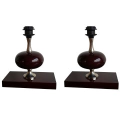 Pair of Deep Bordeaux, Enameled Lamps by P. Barbier - 1970's - Ipso Facto