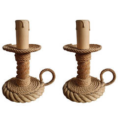 Pair of rope table lamps by Audoux Minnet - 1960's - Ipso Facto