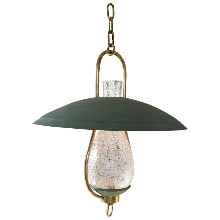 Textured Glass, Brass and Steel Pendant in the Style of Stilnovo - Ipso Facto