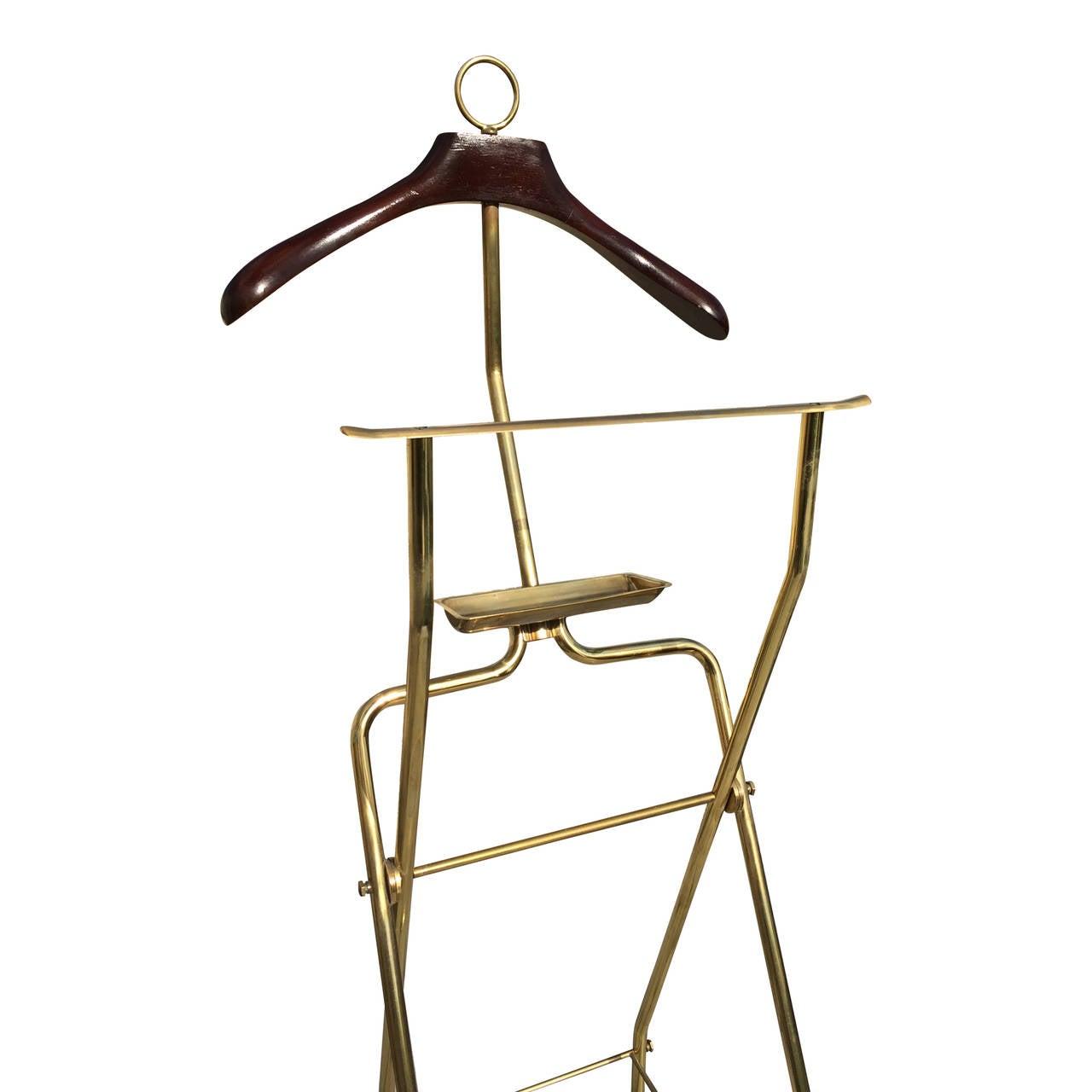 mahogany and massive brass menu0027s valet coat stand att parisi italy 1960u0027s 3