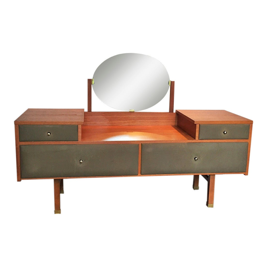 dressing table coiffeuse by roger landault and two stools france 1960s at 1stdibs. Black Bedroom Furniture Sets. Home Design Ideas