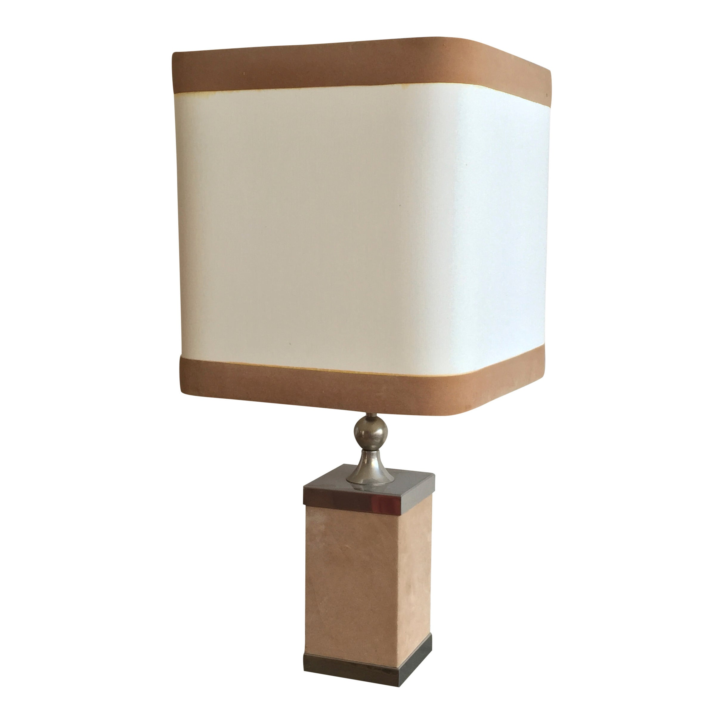 Feutrine and Nickel Plated Steel Table Lamp, France 1970s