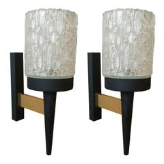 Pair of Brutalist Thick Textured Glass Sconces, France Late 1960s