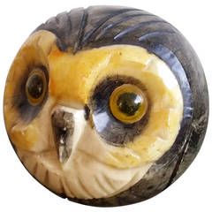 glazed carved marble paper press in shape of an owl - Italy 1960's - Ipso Facto
