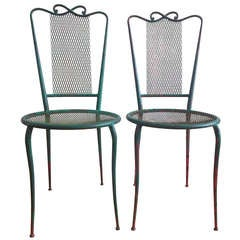 Pair of French 1950 wrought iron chairs in the style of René Prou - Ipso facto