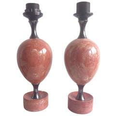 Pair of chic petite Maison Barbier pink travertine lamps - Ipso Facto