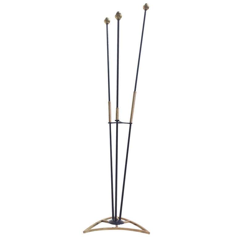 French 196039s gilt and black enamel steel floor lamp 3 for 3 light steel floor lamp
