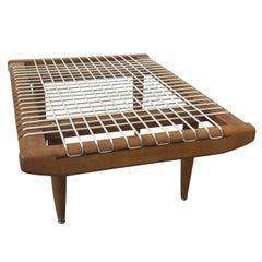"""Petite Louis Sognot 1960's """"scoubidou"""" table in oak - Ipso Facto"""