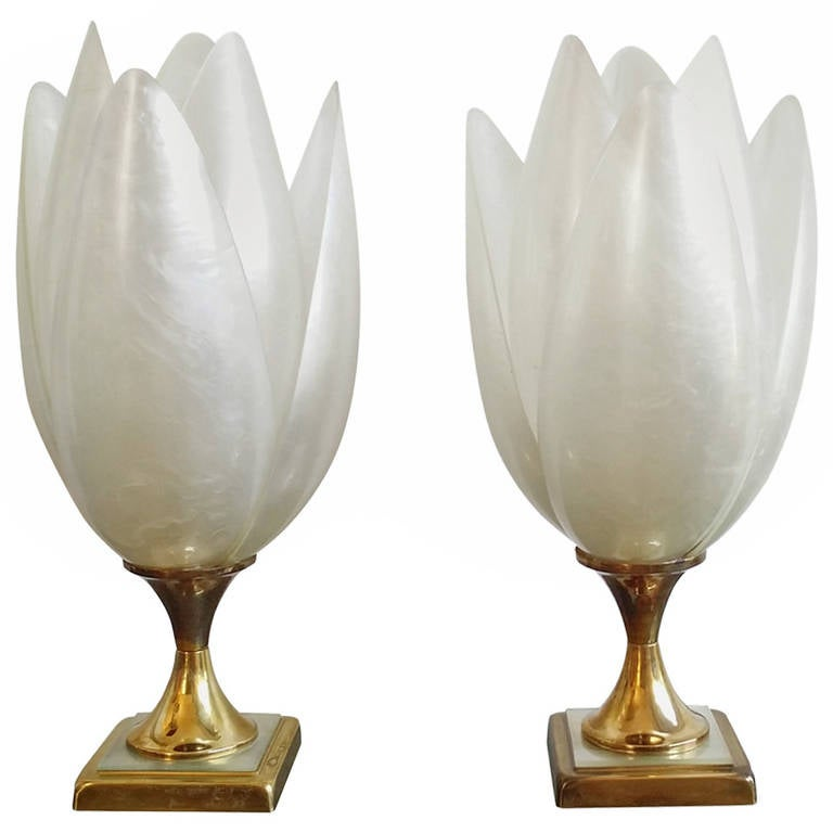 Lotus Shaped Rougier Table Lamps, Canada 1970s ipso facto