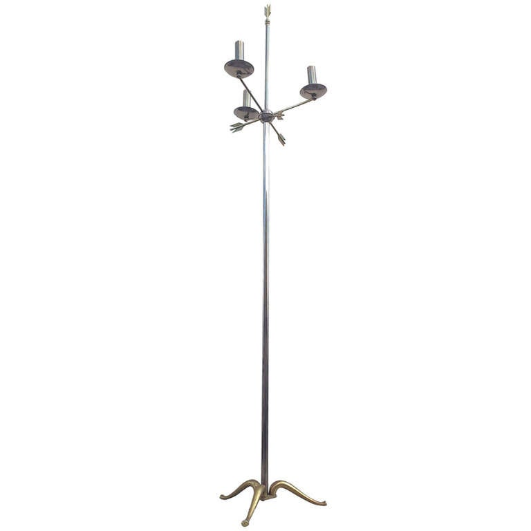 Outstanding neo classical French 1960's floor lamp with arrow details Ipso Facto