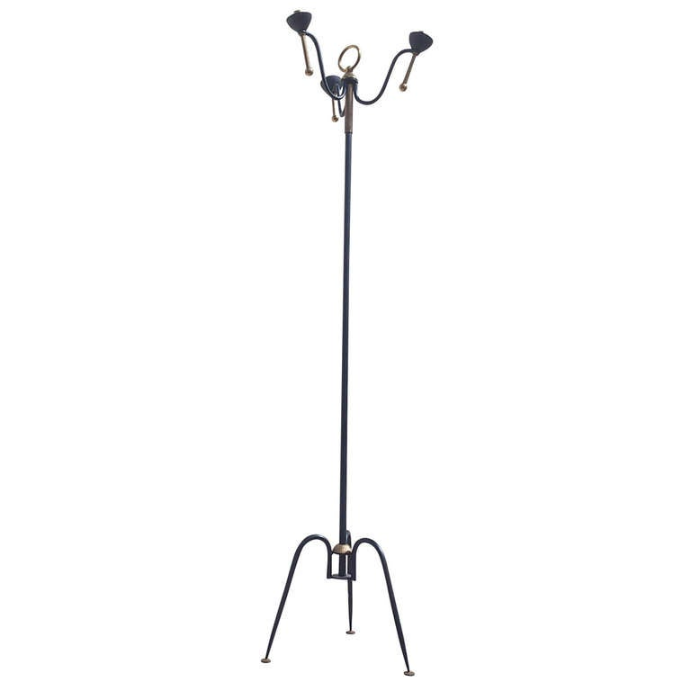 1960's French tripod floor lamp in the style of Jacques Adnet - Ipso Facto