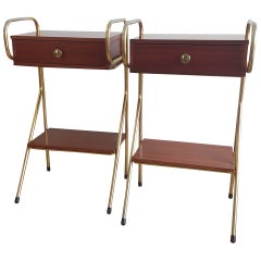 Pair of Mid Century Nightstands in the Style of Jacques Hitier