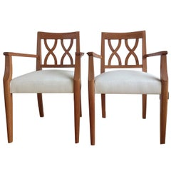 pair of Guermonprez French 1960's oak armchairs - Ipso Facto