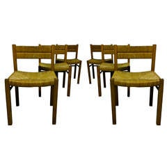 6 Straw and Pine Dining Room Chairs by Pierre Gautier Delaye - France Ipso Facto