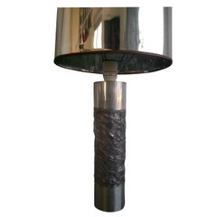 Rare Brutalist 1970 Raw Steel Table Lamp - Ipso Facto