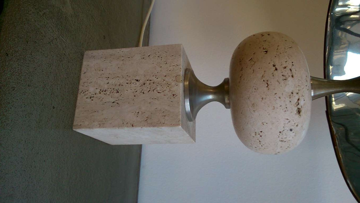 Late 20th Century Maison Barbier Travertine & Polished Steel Lamp - France 1970's - Ipso Facto For Sale