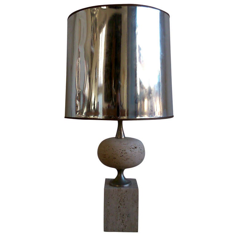 Maison Barbier Travertine & Polished Steel Lamp - France 1970's - Ipso Facto