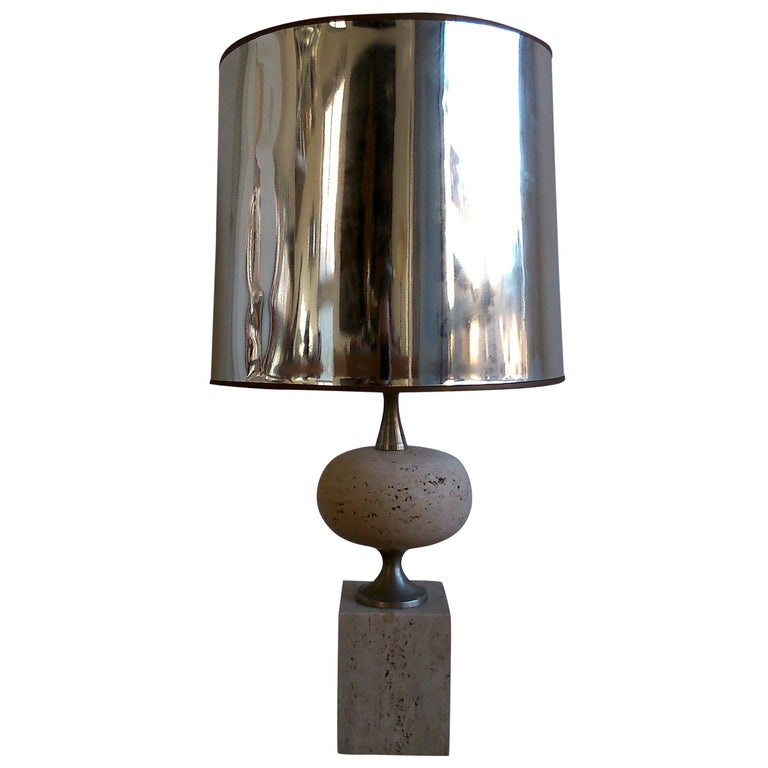 Maison Barbier Travertine & Polished Steel Lamp - France 1970's - Ipso Facto For Sale