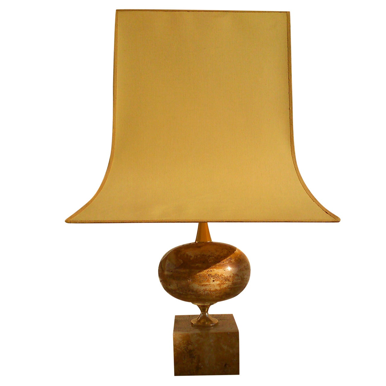 Oversized Maison Barbier Travertine And Brass Lamp - France 1970's - Ipso Facto