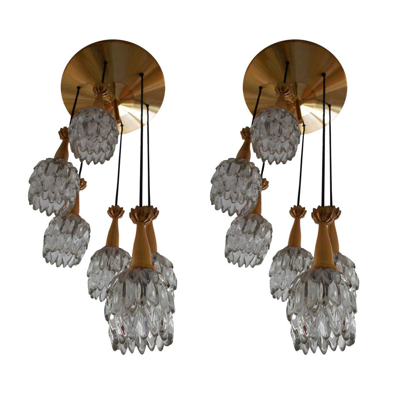 exceptional pair of jean gandelin chute flush mounts or. Black Bedroom Furniture Sets. Home Design Ideas