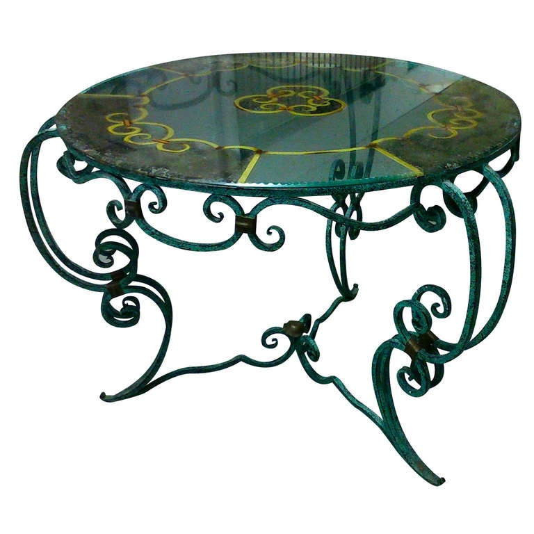 French 1940s Eglomized Glass Top And Wrought Att Rene