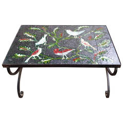 Adnet occasional enameled lava stone table - France 1950's - Ipso Facto