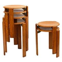6 Bruno Rey stools - two sizes - Switzerland 1970's - Ipso Facto