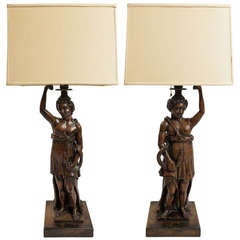 19th Century Mythological Women and Snakes Wood Carved Lamps